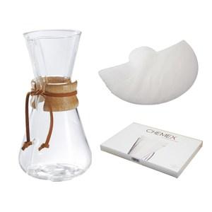 美國Chemex手沖咖啡濾壺(木把.三人份)+半月形專用濾紙