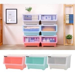 【收納屋】維也納 38L直取式收納箱(三入/組)水藍+粉紅+淺灰