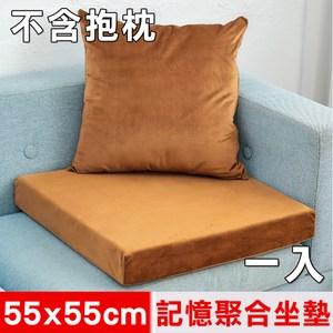 【凱蕾絲帝】記憶聚合加厚絨布坐墊/實木椅墊55x55cm-咖啡(一入)