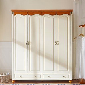 林氏木業美式小戶型四門衣櫃 LSN1D-紅棕+米黃色