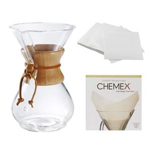 美國Chemex手沖咖啡濾壺(木把.六人份)+ 方形專用濾紙