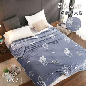 【BELLE VIE】仙人掌藍-保暖金貂法蘭絨(180X210cm)(180x210cm-