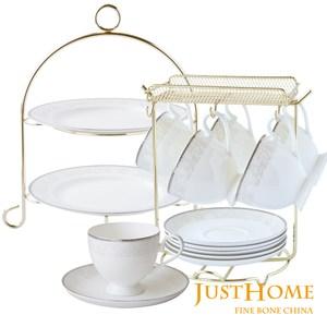 Just Home安格斯高級骨瓷16件午茶組(6入咖啡杯+兩層蛋糕盤)