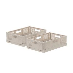 (組)BQ540-1 箱根400型摺疊籃(淡棕) 2入