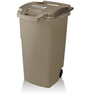 【日本 GREEN 】(21入)機能型戶外拉桿式垃圾桶 90L-棕色