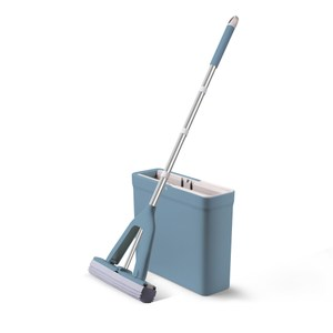 HomeZone免手洗膠棉拖把組-藍