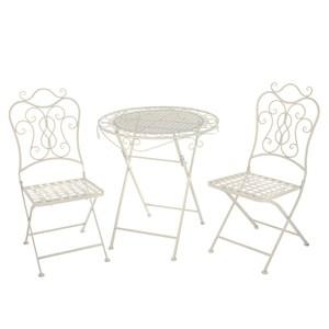 布拉格鐵製一桌二椅組-白色