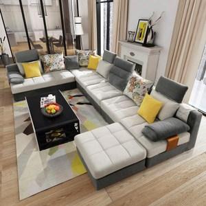 林氏木業多功能組合可拆洗四人L型布沙發+茶几收納腳凳(附抱枕)996-灰色