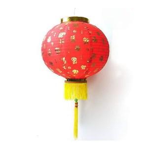 【摩達客】春節-16吋百福字大紅綢布燈籠(一組兩入不含燈)