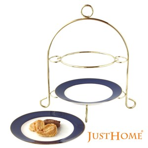Just Home瓦爾那高級骨瓷雙層蛋糕盤附架(附禮盒)
