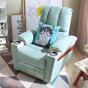 林氏木業防汙多功能單人沙發躺椅(附空調被抱枕)DY14-天藍色