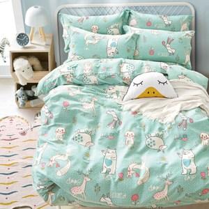 【eyah】100%台灣製寬幅精梳純棉加大床包被套組-5月派對動物