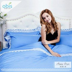 【obis】精梳棉蕾絲雙人加大6*6.2尺床包被套組-跳躍水滴