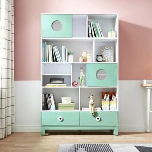 林氏木業清新配色兒童多層間隔儲物書櫃(具防倒功能)EU1X