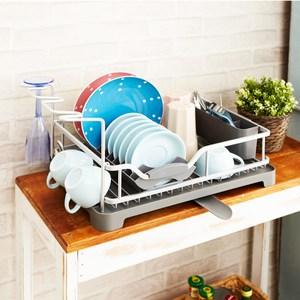 【H&R安室家】鋁製碗盤瀝水收納架 KSF18