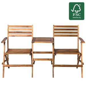 艾莉爾實木摺疊雙人休閒椅 含桌 FSC認證