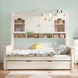 林氏木業兒童星月單人加大4尺兒童床DI5A-仿古白(含儲物櫃及拖床不含床墊)