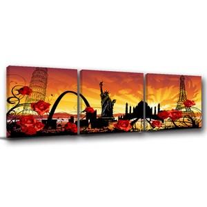 24mama掛畫-三聯式 玫瑰 城市 自由女神 插畫風無框畫-40x40cm